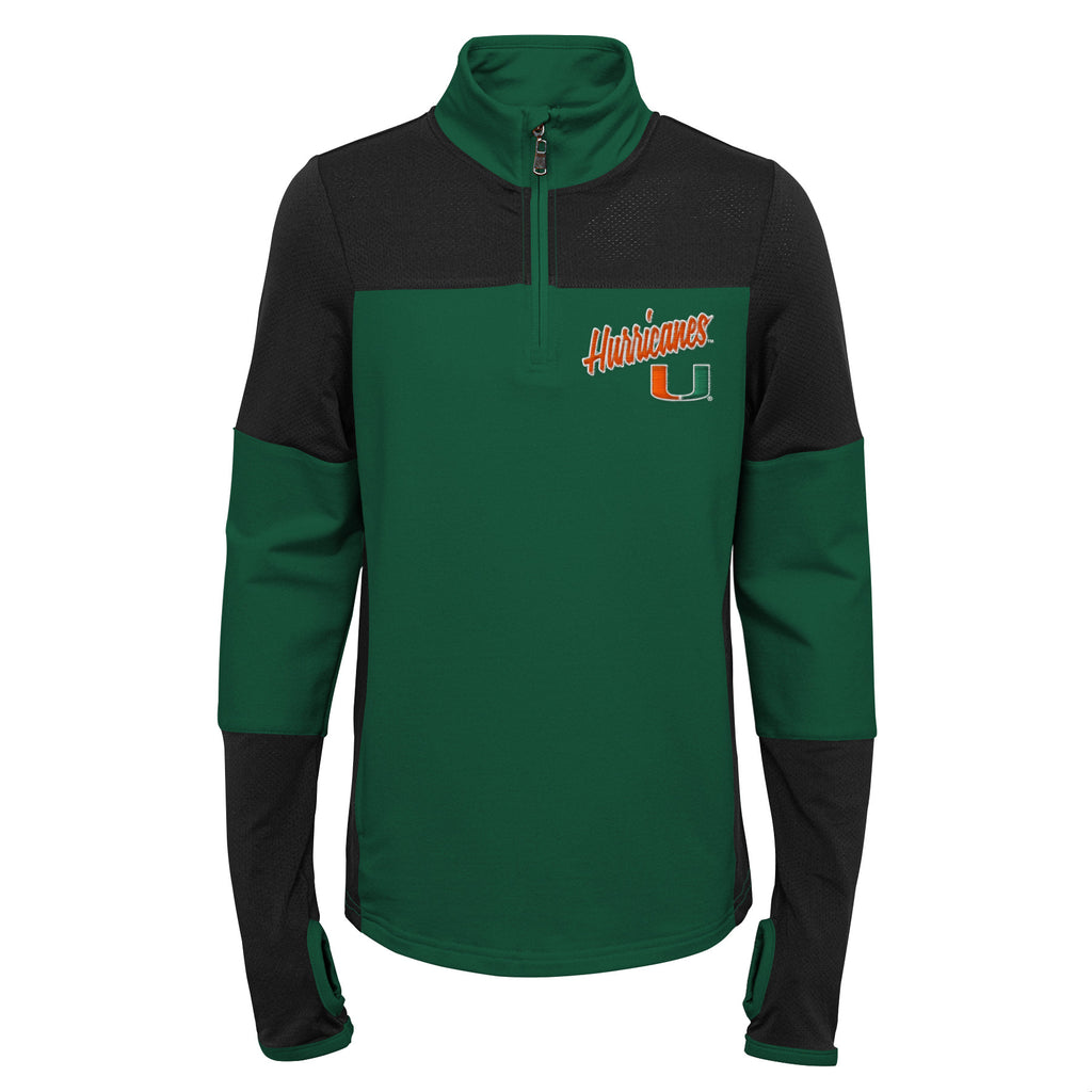 Miami Hurricanes Youth 1/4 Zip Two-Tone Long Sleeve Pullover - Green/Black