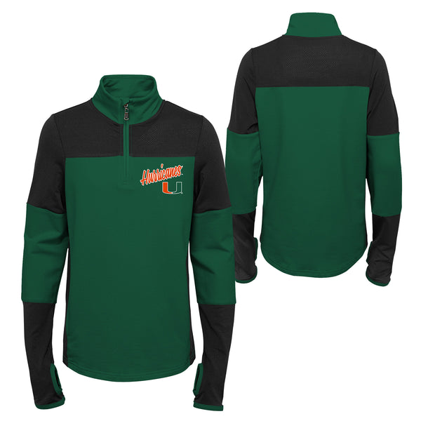 811cb3431ad9b Miami Hurricanes Youth 1 4 Zip Two-Tone Long Sleeve Pullover - Green B –  CanesWear at Miami FanWear