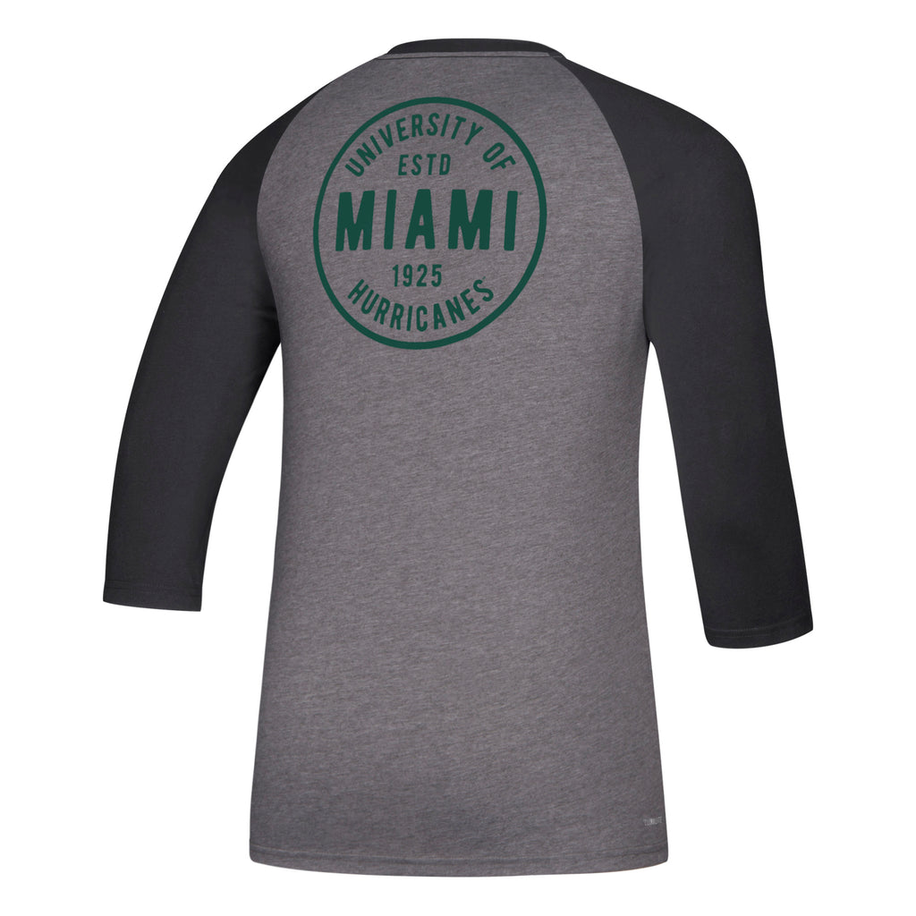 Miami Hurricanes adidas Circle of Trust 3/4 Contrast Raglan T-Shirt