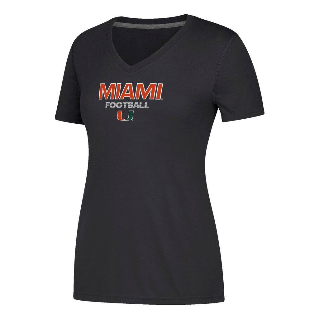 Miami Hurricanes adidas Women's Sideline Rush Football Ultimate V-Neck T-Shirt - Black