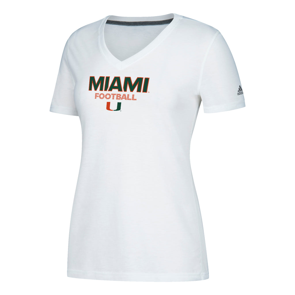 Miami Hurricanes adidas 2018 Women's Sideline Rush Football Ultimate V-Neck T-Shirt - White