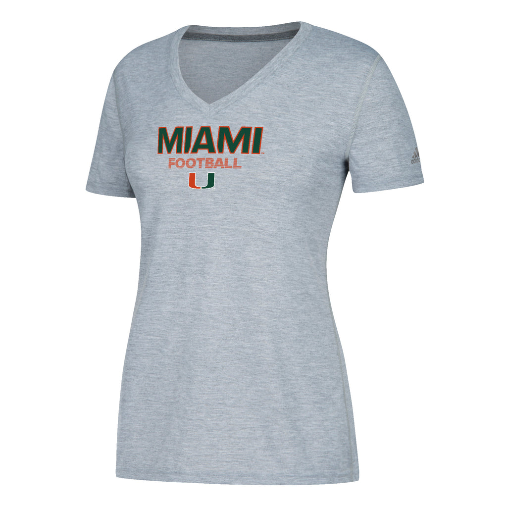 Miami Hurricanes adidas Women's Sideline Rush Football Ultimate V-Neck T-Shirt - Gray