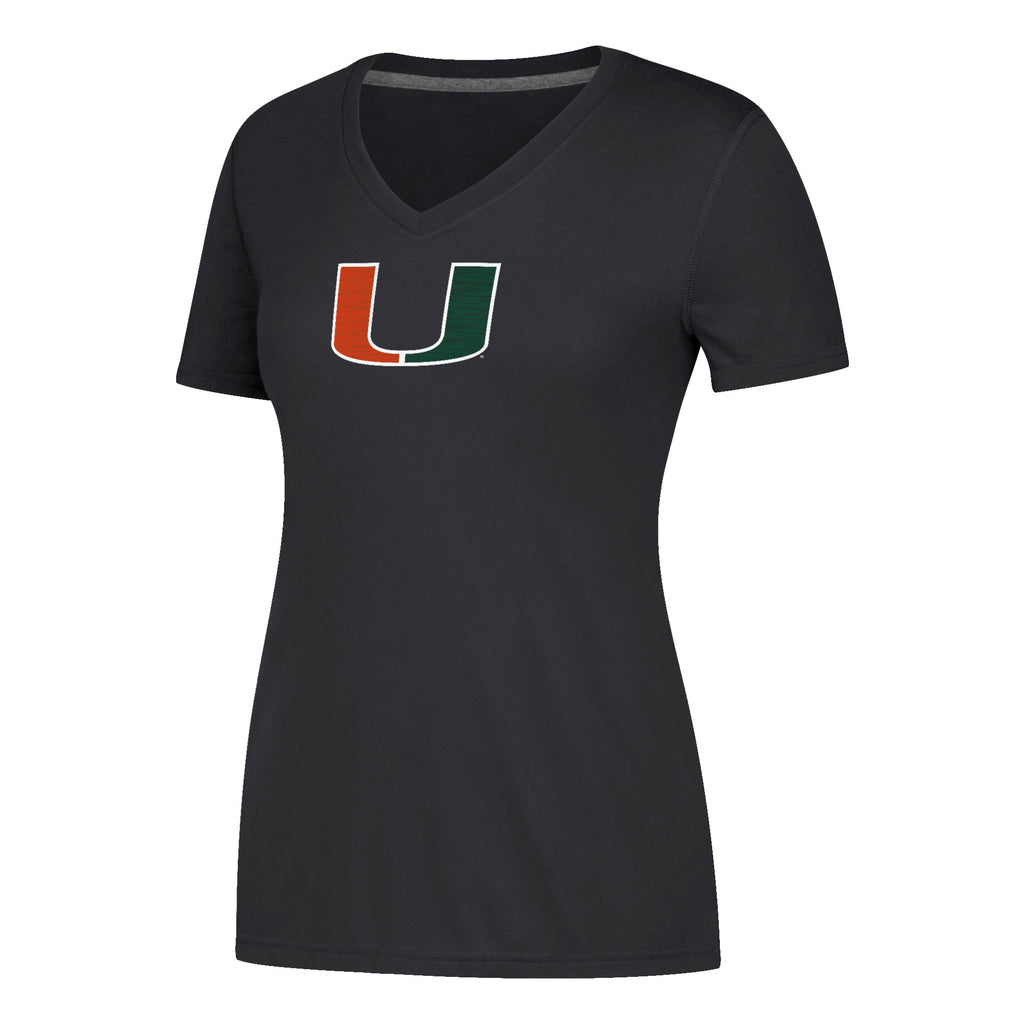 Miami Hurricanes adidas Women's Sideline Sequel Ultimate V-Neck T-Shirt - Black