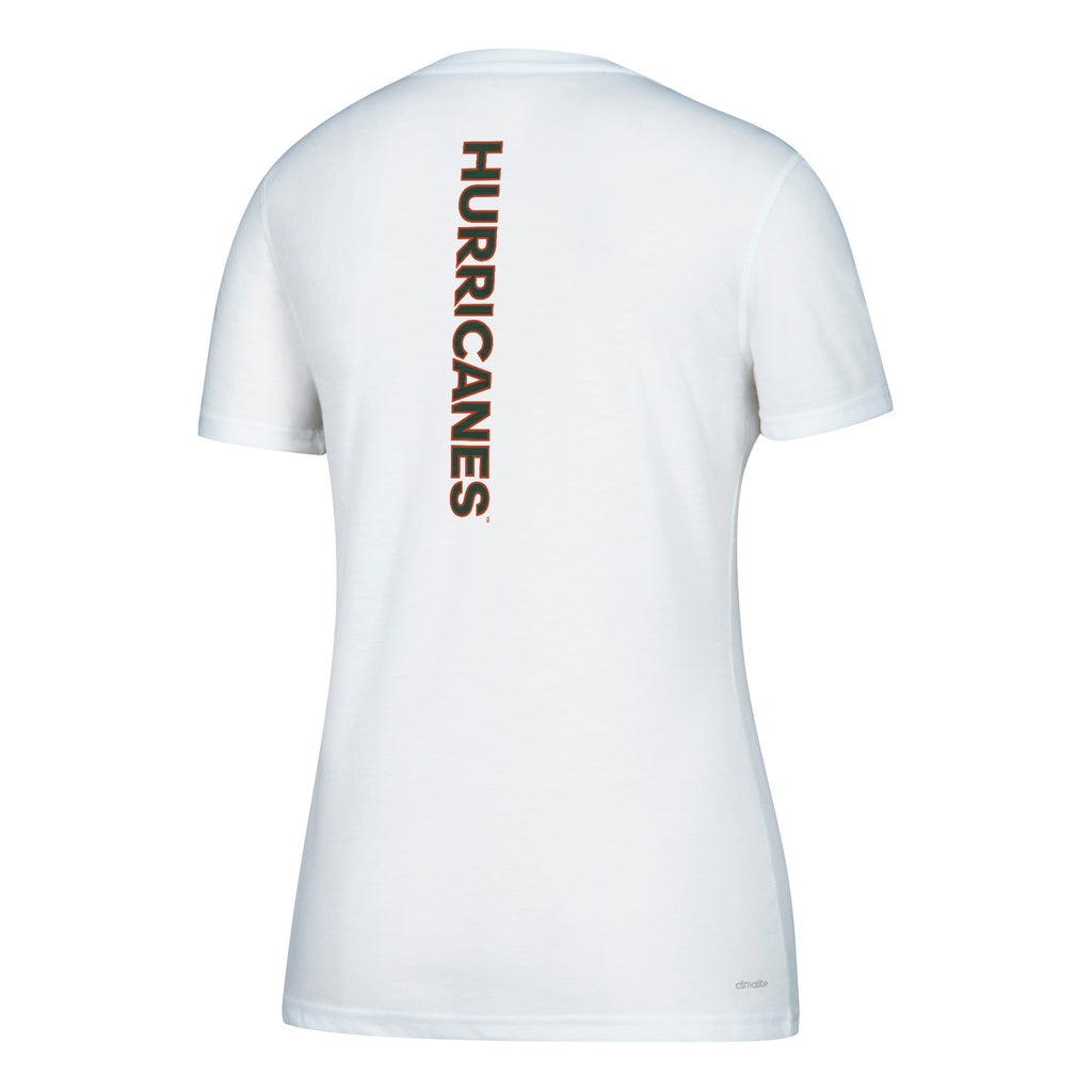 Miami Hurricanes adidas Women's Sideline Sequel Ultimate V-Neck T-Shirt - White
