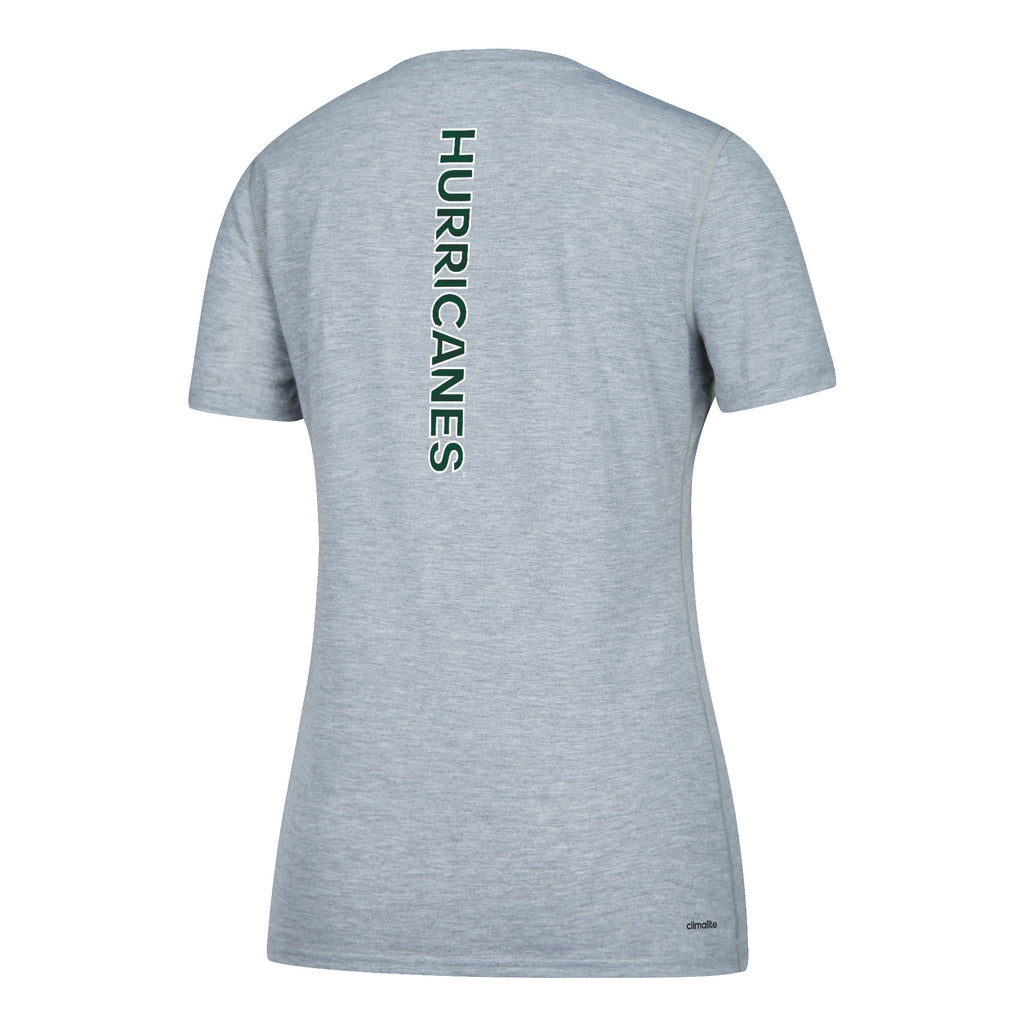 Miami Hurricanes adidas Women's Sideline Sequel Ultimate V-Neck T-Shirt - Gray