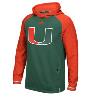 Miami Hurricanes Adidas Player Hoodie - Green - CanesWear at Miami FanWear Men's T-Shirt Adidas CanesWear at Miami FanWear