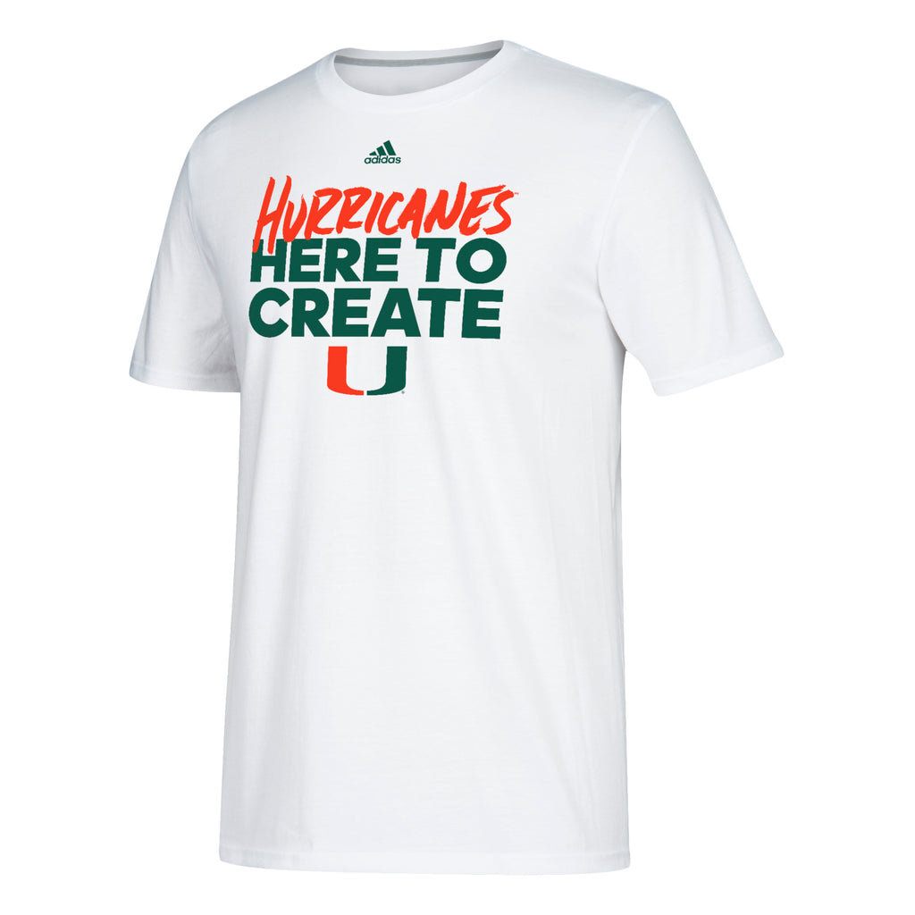 miami hurricanes adidas here to create go to performance t shirt