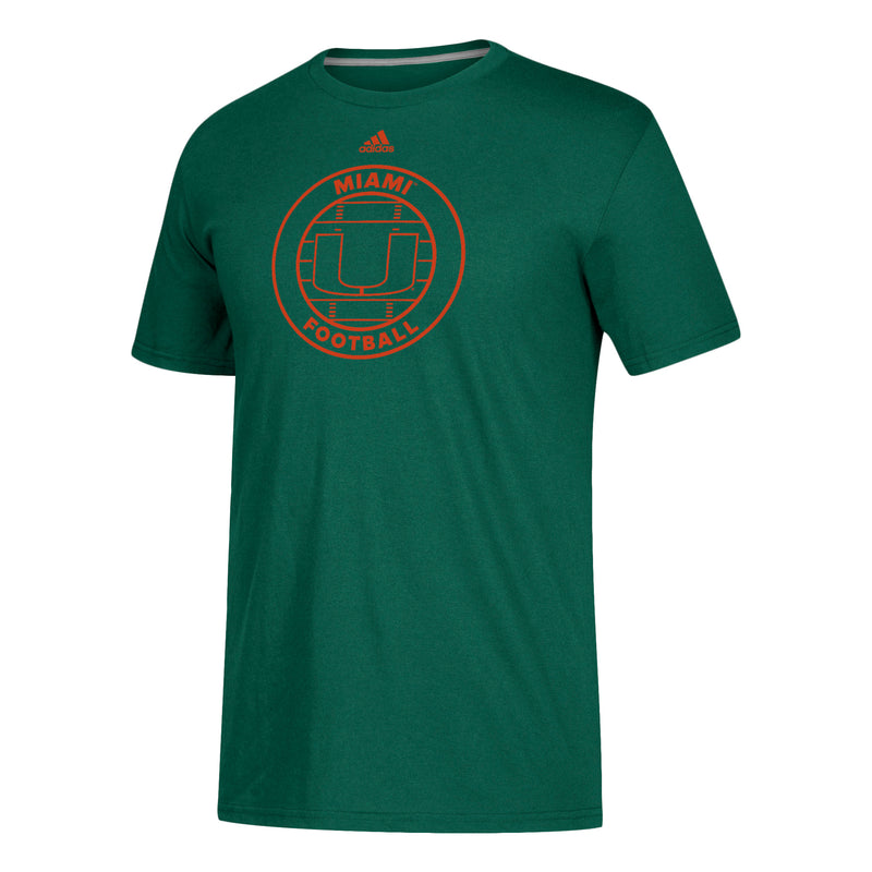 Miami Hurricanes adidas 2018 Adi Sport Football Go-To Performance T-Shirt - Green