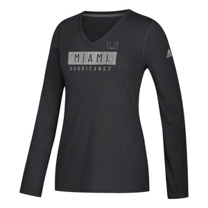 Miami Hurricanes adidas Women's 2018 Bar Flow Ultimate L/S T-Shirt - Black