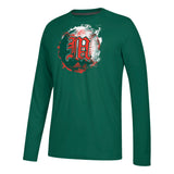 Miami Hurricanes adidas Baseball Old English M Ultimate L/S Tee - Green