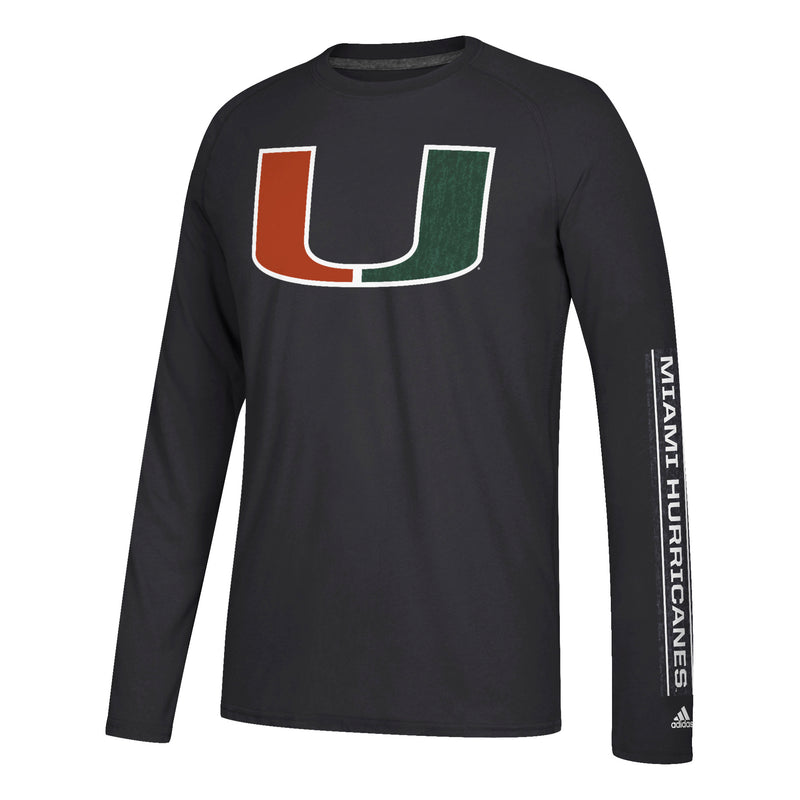 Miami Hurricanes adidas Left Text L/S Ultimate T-Shirt - Black