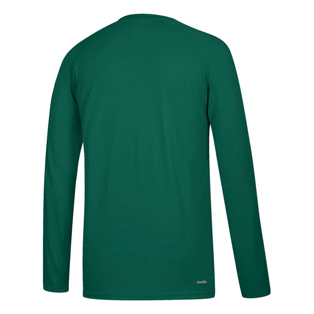 Miami Hurricanes adidas Left Text L/S Ultimate T-Shirt- Green