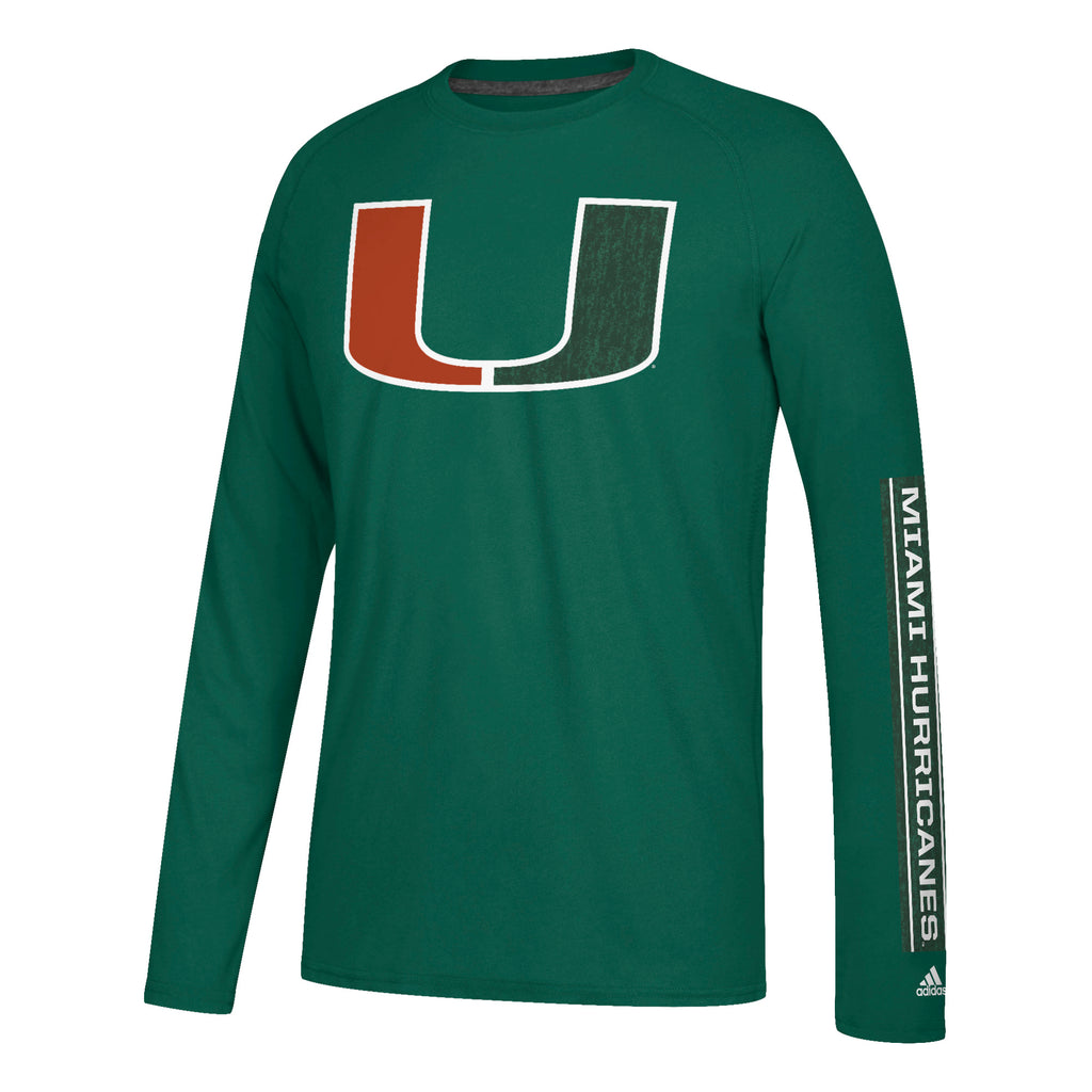 Miami Hurricanes adidas 2018 Left Text L/S Ultimate T-Shirt- Green