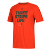 Miami Hurricanes adidas 2018 Three Stripe Life Ultimate Performance T-Shirt - Orange