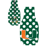 Miami Hurricanes Zipper Coozie - Green Polka Dots
