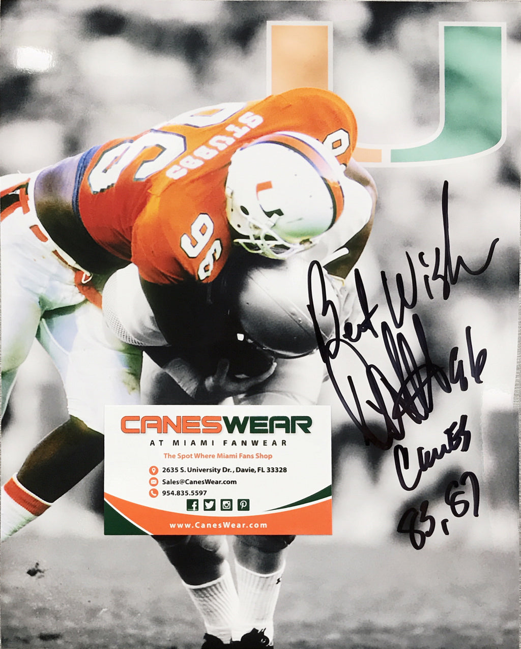 Miami Hurricanes Daniel Stubbs Autographed Photo - 8x10