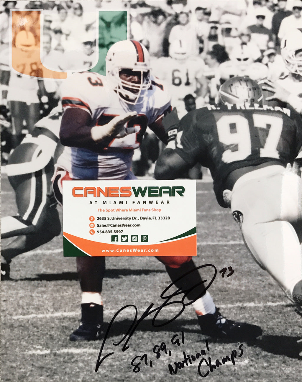 Miami Hurricanes Leon Searcy Autographed Photo - 8x10