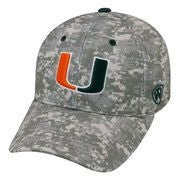 Miami Hurricanes DIGI CAMO Flex Fit Hat by Top of the World - CanesWear at Miami FanWear Headwear Top of the World CanesWear at Miami FanWear