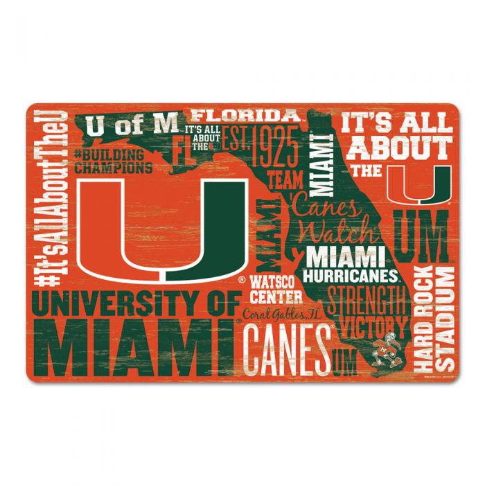 "Miami Hurricanes Wordage Wooden Sign 11"" x 17"""