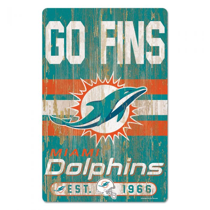 "Miami Dolphins Wooden Est. 1966 Sign 11""x17"""