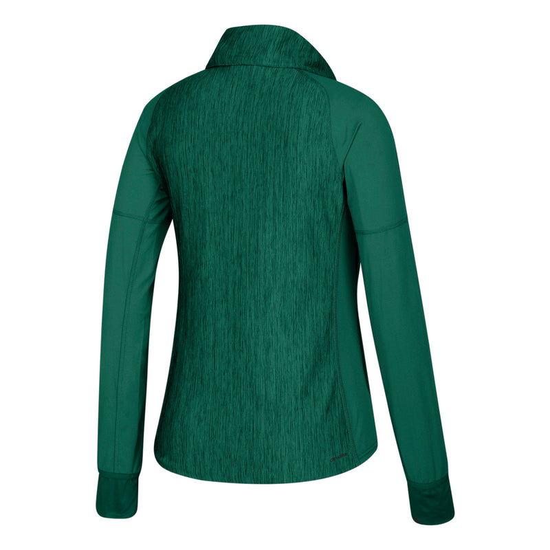 Miami Hurricanes adidas Women's  zip w/Vert Heathered 1/4 Zip Shirt - Green