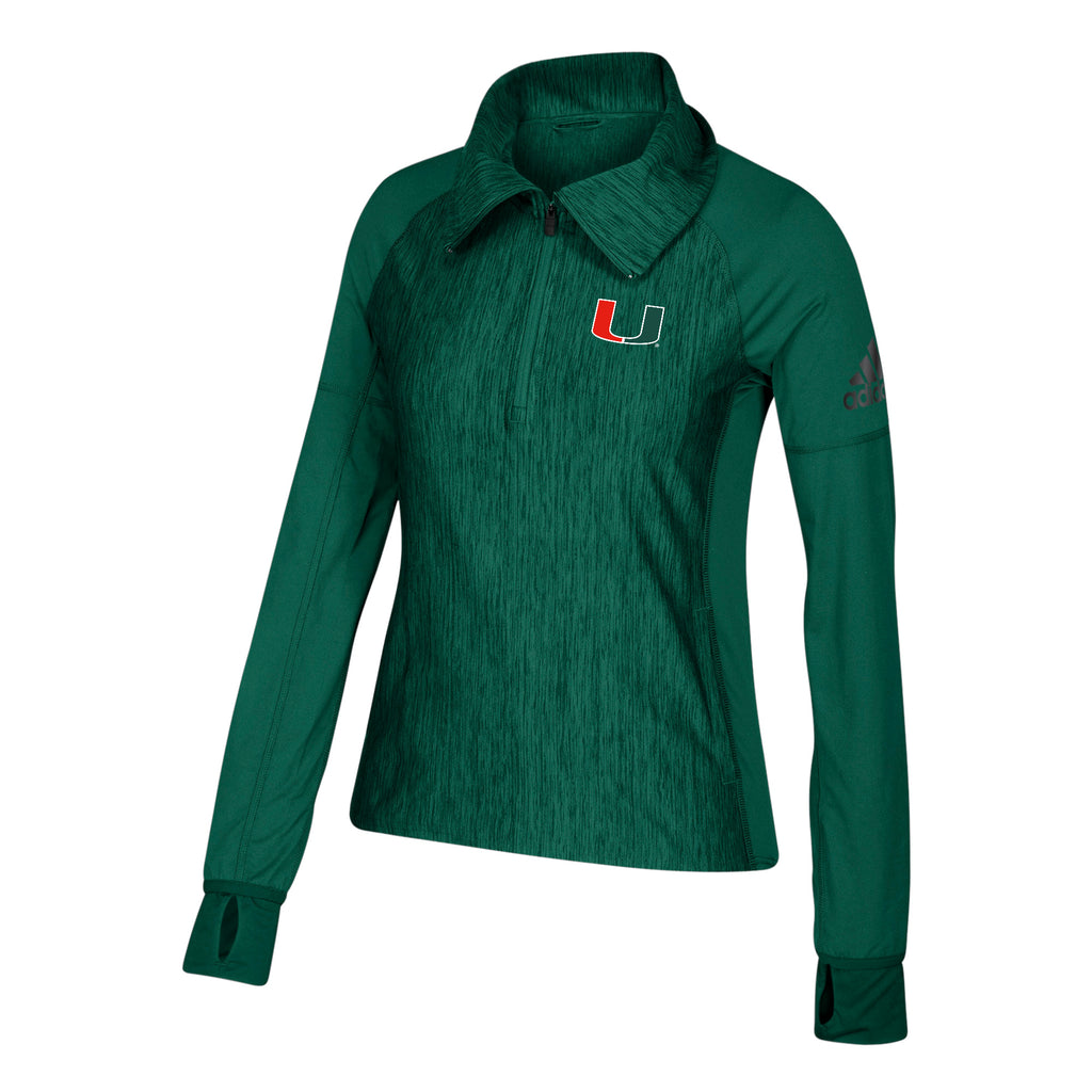 Miami Hurricanes adidas 2018 Women's  zip w/Vert Heathered 1/4 Zip Shirt - Green