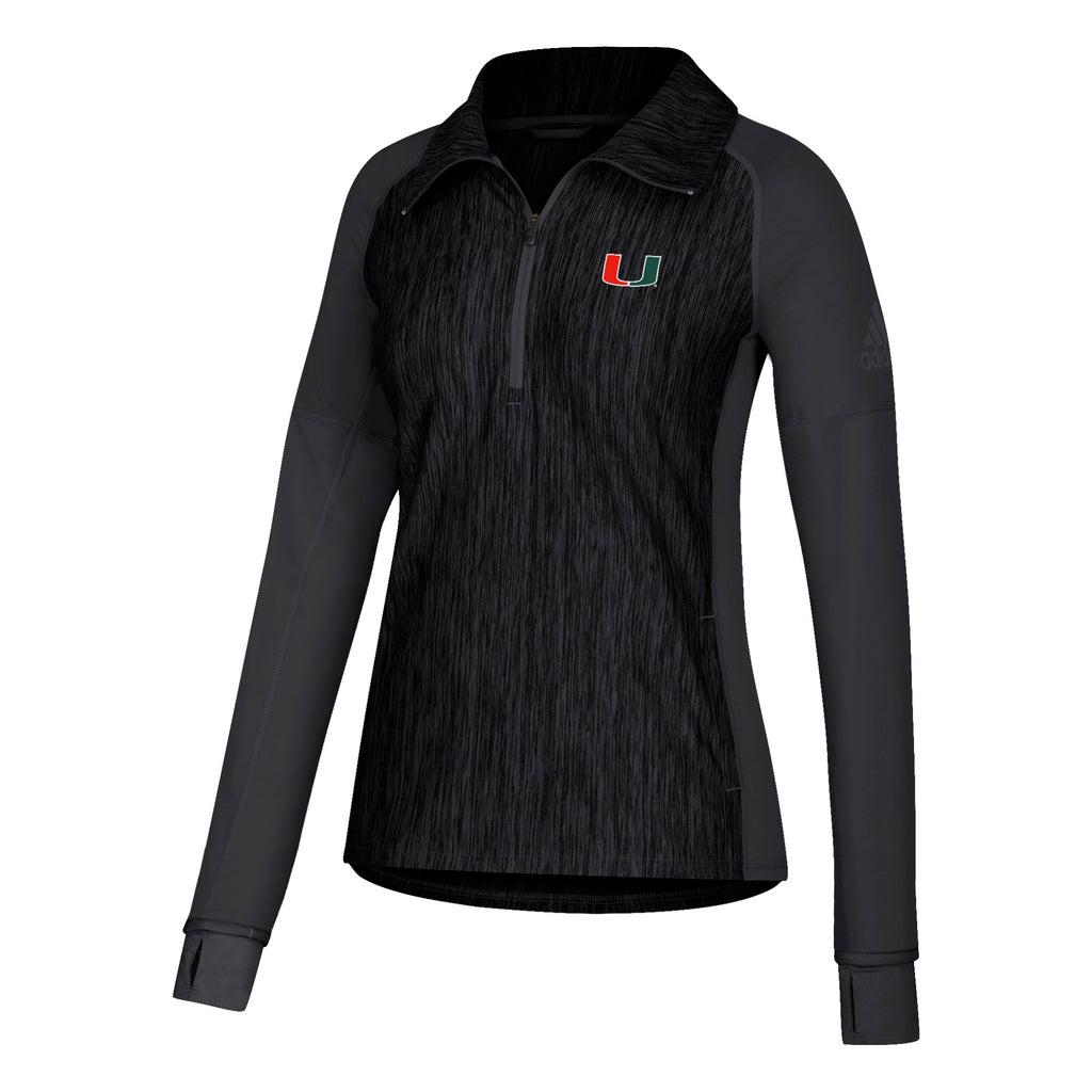 Miami Hurricanes adidas Women's U Long Sleeve 1/4 Zip - Heathered Black