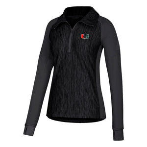 Miami Hurricanes adidas 2018 Women's U Long Sleeve 1/4 Zip - Heathered Black