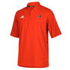 Miami Hurricanes adidas 2018 Sideline S/S Woven 1/4 Zip Shirt - Orange