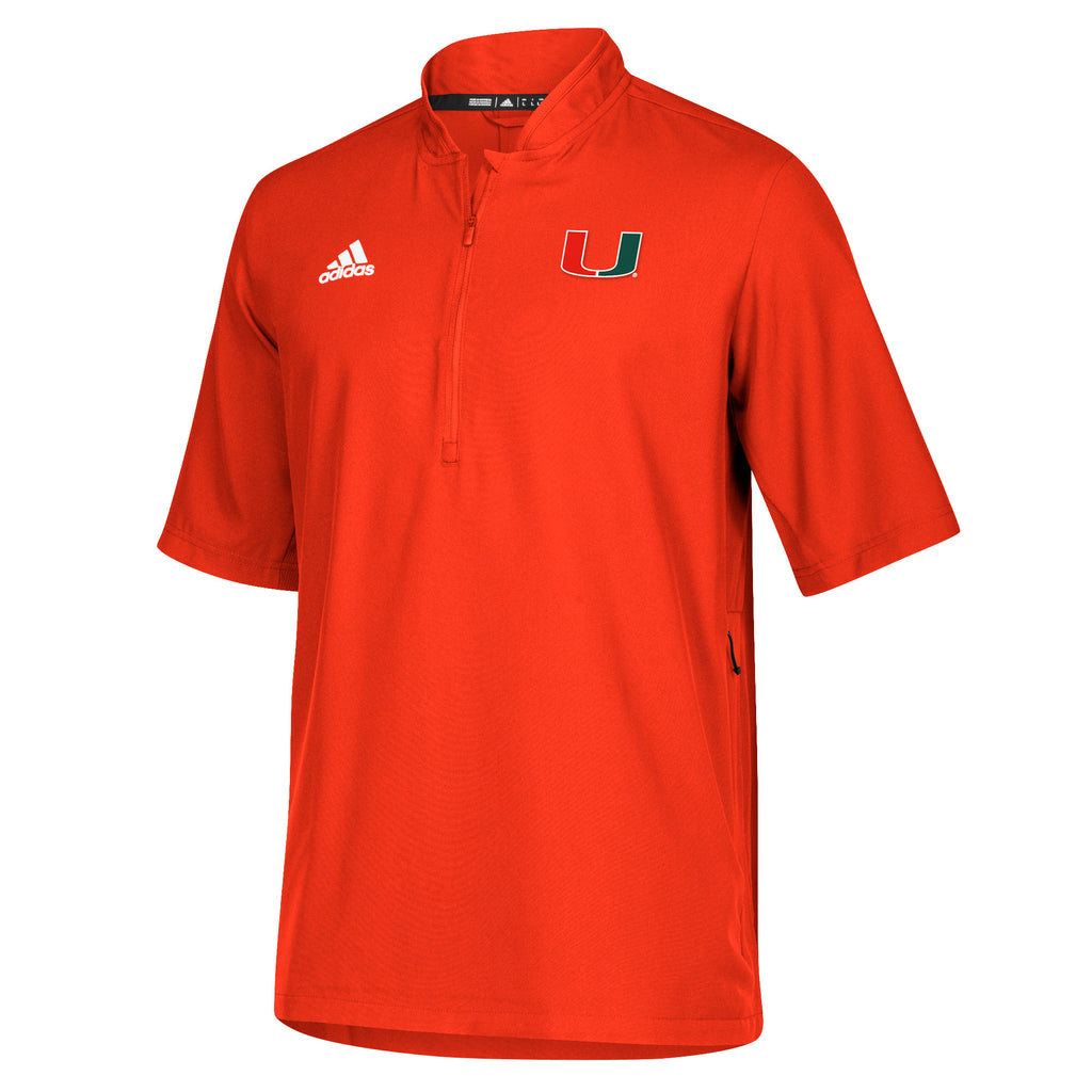 Miami Hurricanes adidas Sideline S/S Woven 1/4 Zip Shirt - Orange