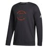 Miami Hurricanes adidas 2018 Youth Sideline Speed Arch L/S Fleece Crew Shirt - Black