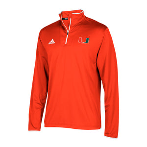 Miami Hurricanes adidas 2018 Sideline L/S Knit 1/4 Zip Shirt - Orange