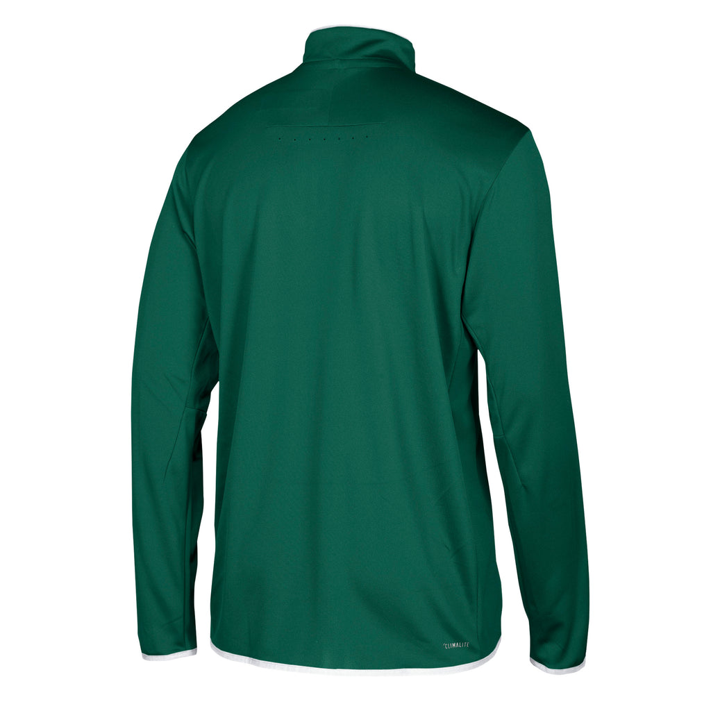 Miami Hurricanes adidas 2018 Sideline 1/4 Zip L/S Shirt - Green