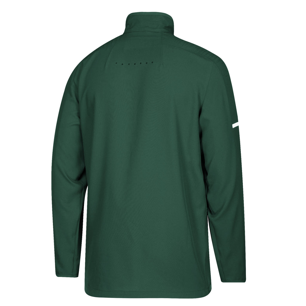 Miami Hurricanes adidas 2018 Sideline L/S Woven 1/4 Zip Shirt - Green
