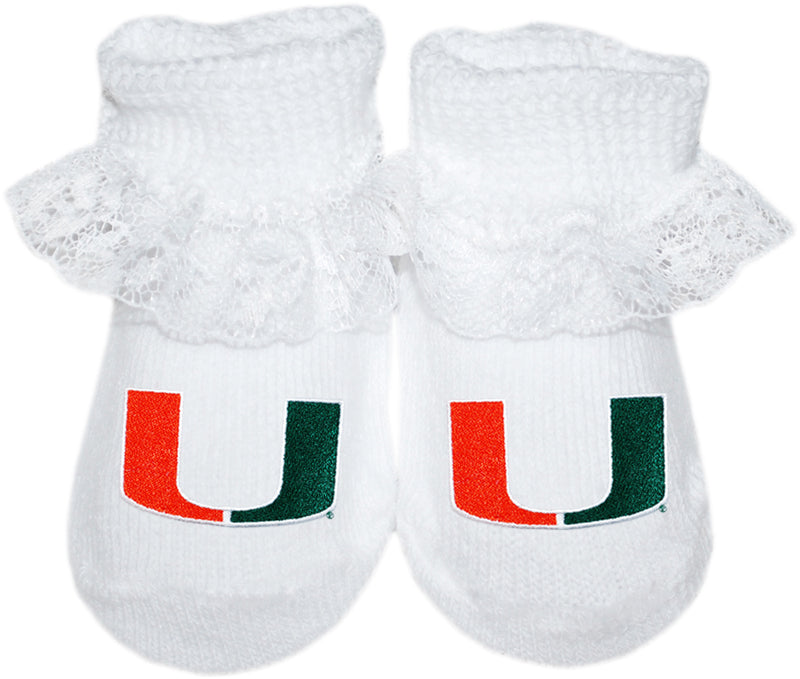 Miami Hurricanes Gift Box Booties w/Laces - 3 Different Colors