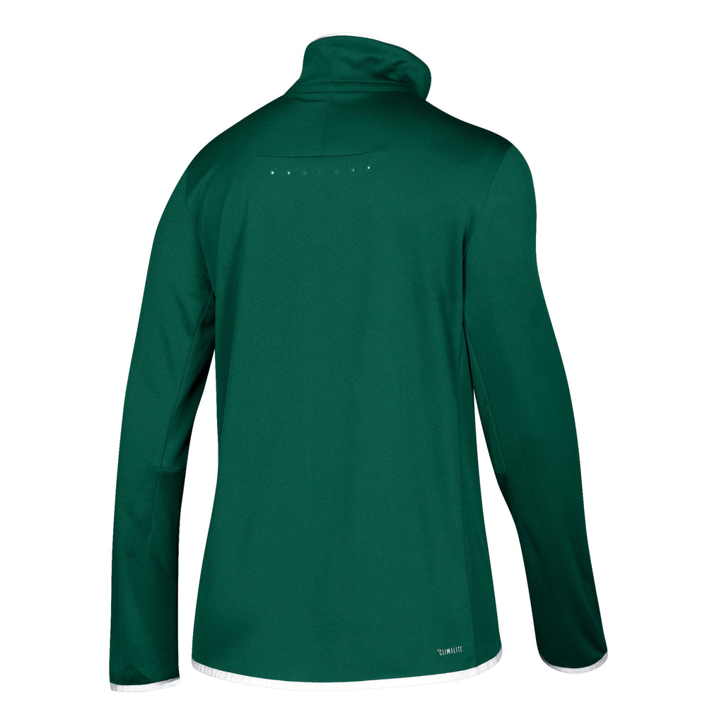 Miami Hurricanes adidas 2018 Women's Sideline 1/4 Zip L/S Knit Shirt - Green