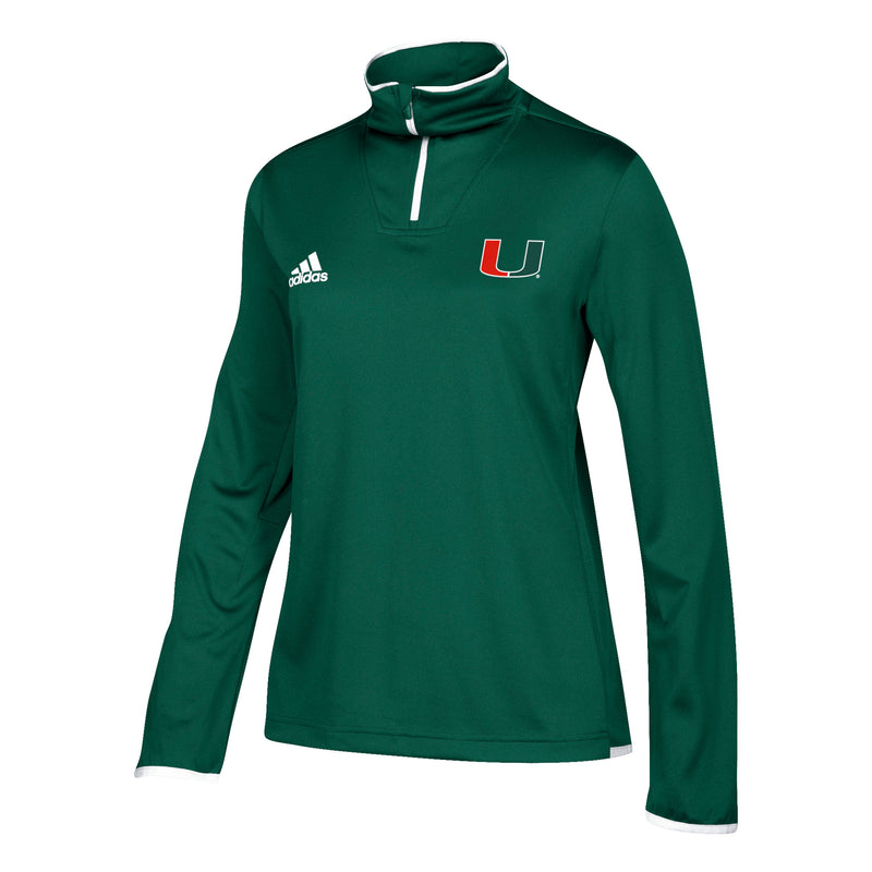 Miami Hurricanes adidas Women's Sideline 1/4 Zip L/S Knit Shirt - Green