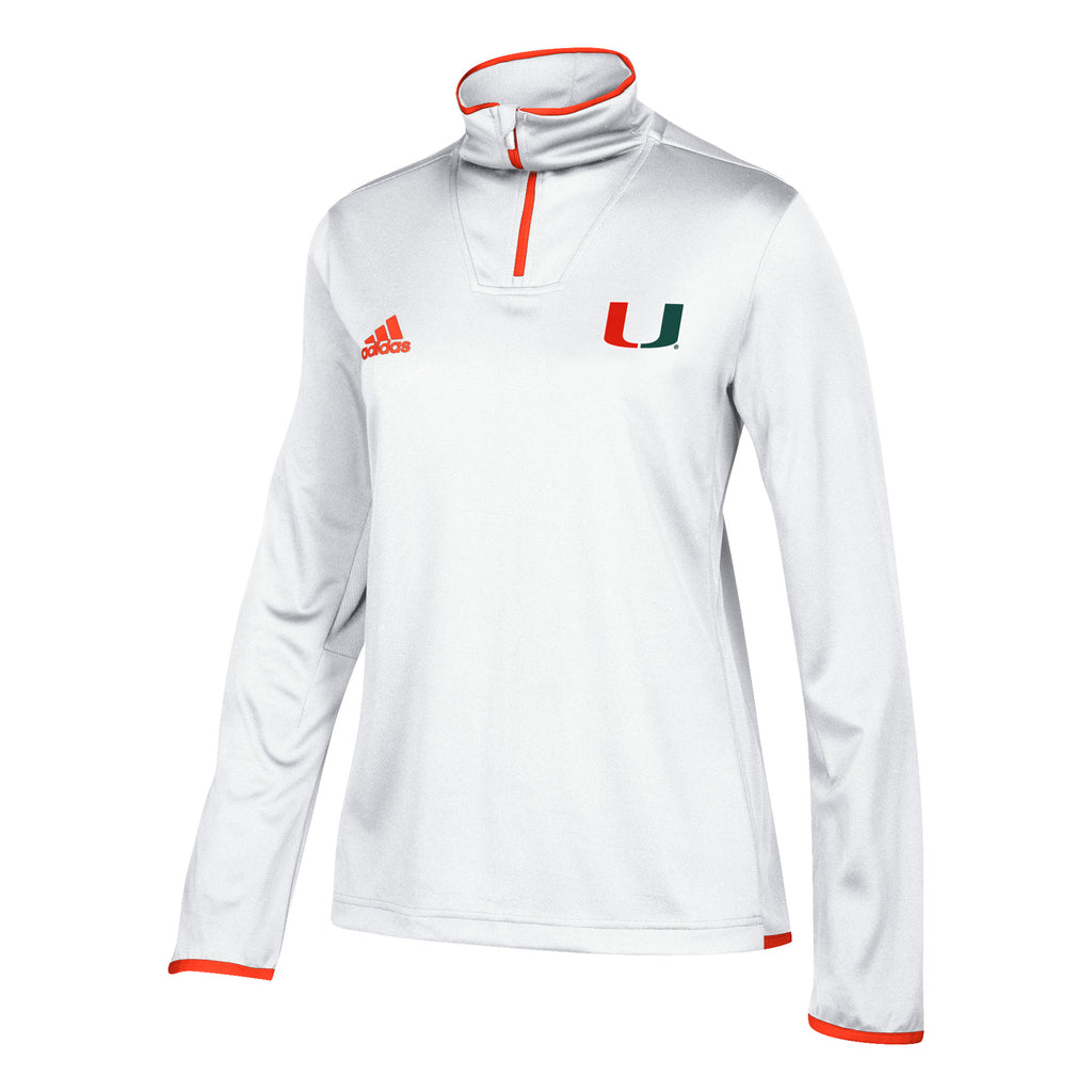 Miami Hurricanes adidas 2018 Women's Sideline 1/4 Zip L/S Knit Shirt - White