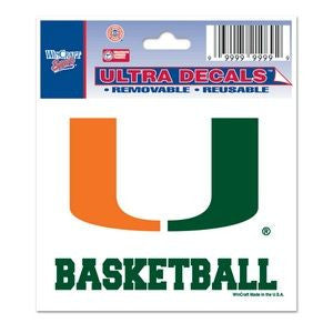 "Miami Hurricanes ""U Basketball"" Ultra Decal 3"" x 4"" - CanesWear at Miami FanWear Decals & Stickers WinCraft CanesWear at Miami FanWear"