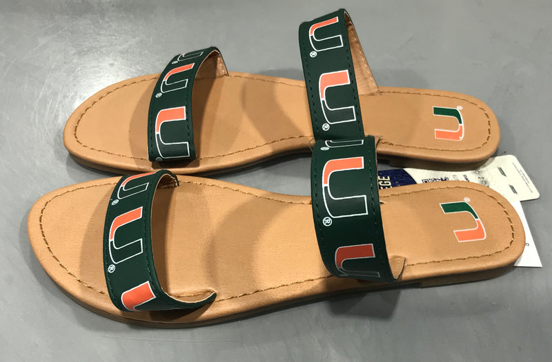 Miami Hurricanes Women's Double Strap Flip Flop Sandals - Green