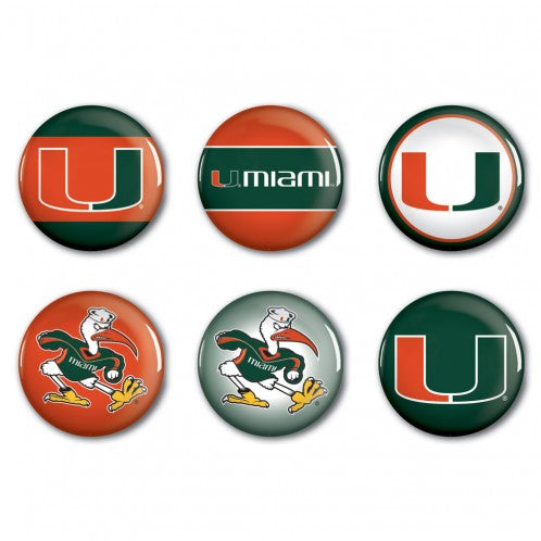 Miami Hurricanes 6 Buttons Pack