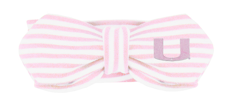 Miami Hurricanes Baby Striped Hairknot Headband - Pink