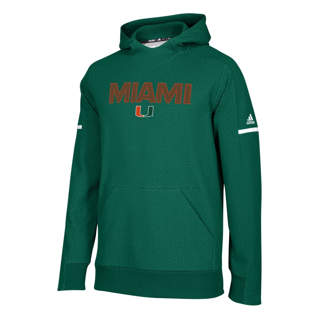 Miami Hurricanes adidas 2018 Sideline Squad Pullover - Green