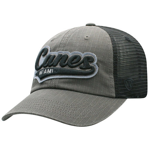 266dc5bf694a8 ... Miami Hurricanes Spade Black Trucker Hat- Top of the World ...