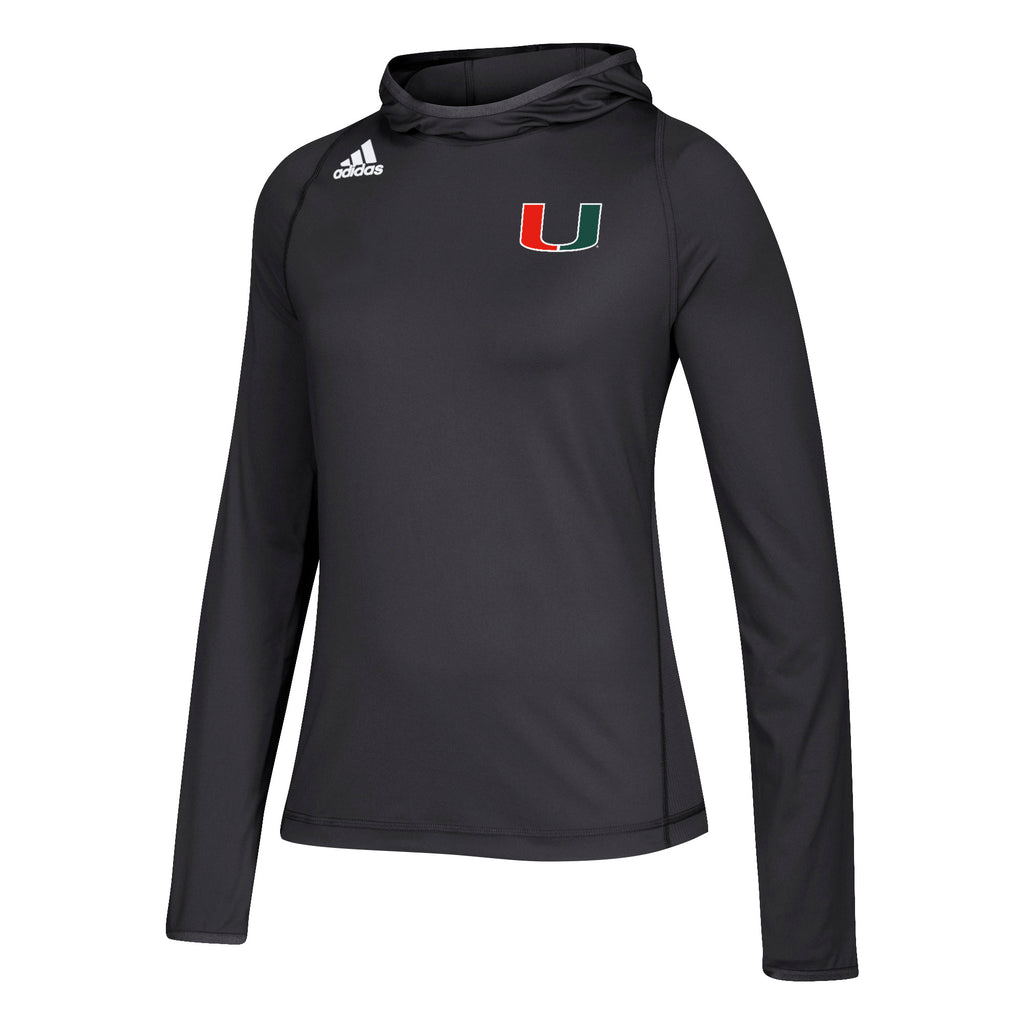 Miami Hurricanes adidas 2018 Women's Sideline L/S Training Hoodie  - Black