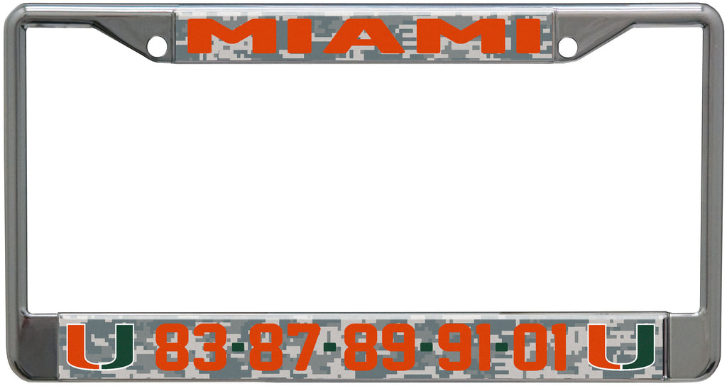 Miami Hurricanes Championship Years License Plate Frame