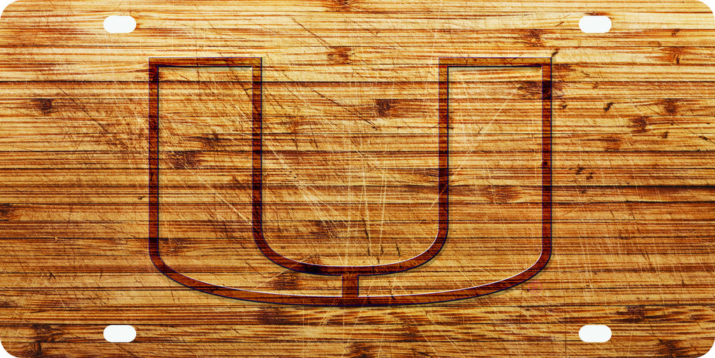 Miami Hurricanes Wood License Front Plate - U Logo - CanesWear at Miami FanWear Automobile Accessories Stockdale CanesWear at Miami FanWear