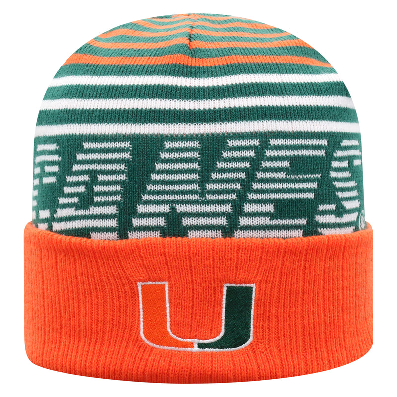 Miami Hurricanes Top of the World Array Cuffed Knit Three-Tone Beanie