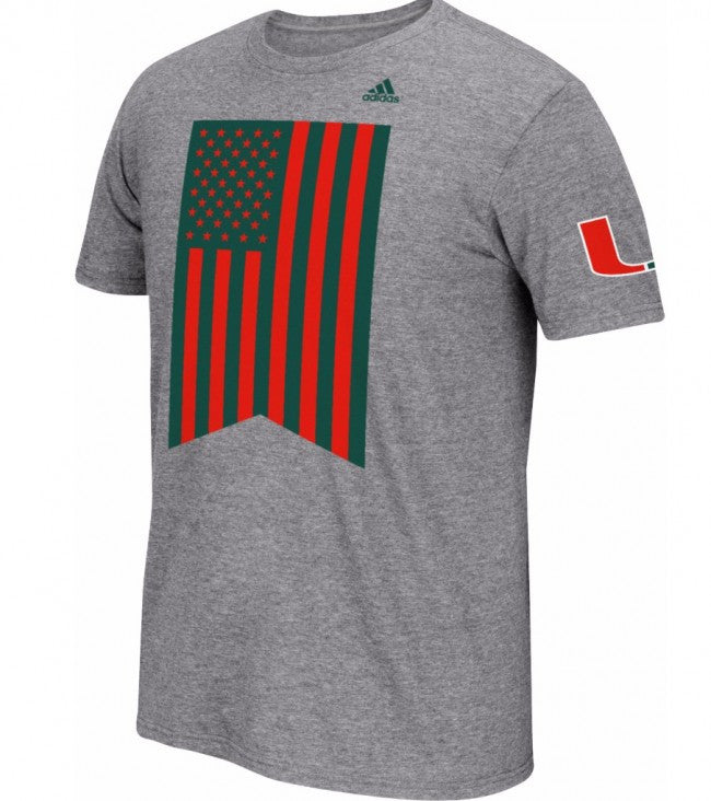 Miami Hurricanes Adidas Veterans Day Flag T-Shirt - Charcoal Gray - CanesWear at Miami FanWear Men's Apparel Adidas Group CanesWear at Miami FanWear