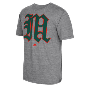 Miami Hurricanes adidas Baseball Old English M Logo T-Shirt